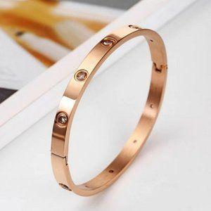 *NEW Rose Gold Round Diamond Bangle Bracelet